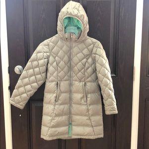 Girls long North Face puffy jacket
